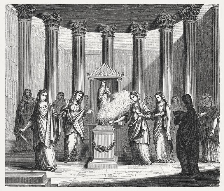 Wood engraving of Vestal Virgins in a temple.