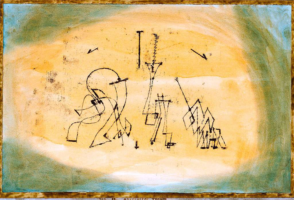 Abstract pen and watercolor painting titled Abstract Trio by Paul Klee