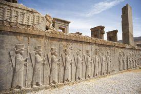 Bas reliefs of Persian guards, Winter Palace of Darius (Tashara)