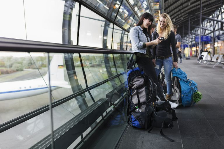 Female Backpackers at Airport.