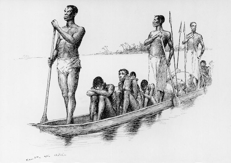 Century Magazine illustration showing slaves in a boat