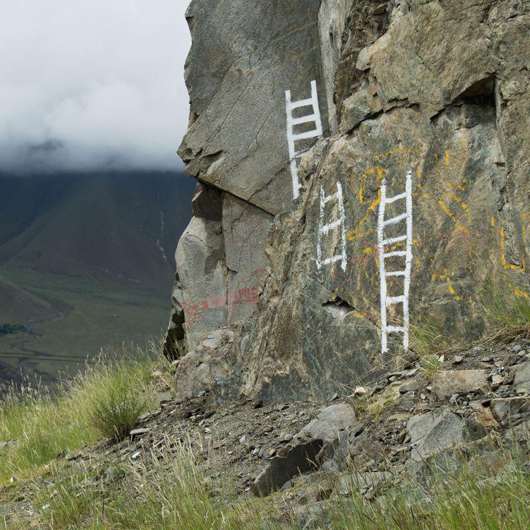 Ladders on rocks