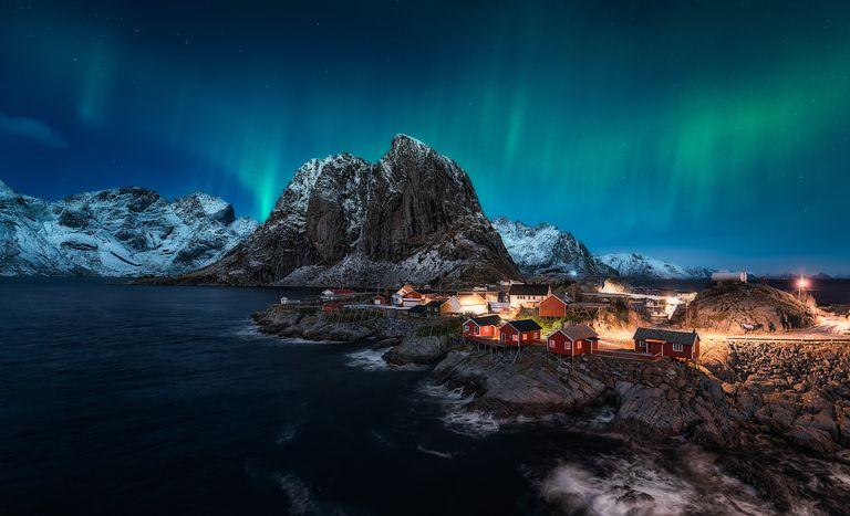 Aurora Borealis over Hamnoy, Norway