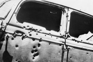 Bullet holes in Bonnie and Clyde's car