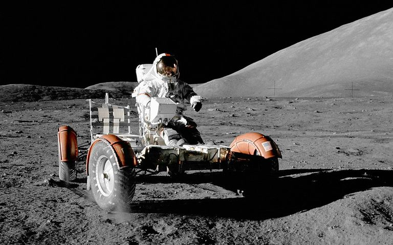 The Lunar Rover being driven on the Moon during Apollo 17.