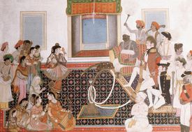 Painting of officers of the East India Company being entertained in India.