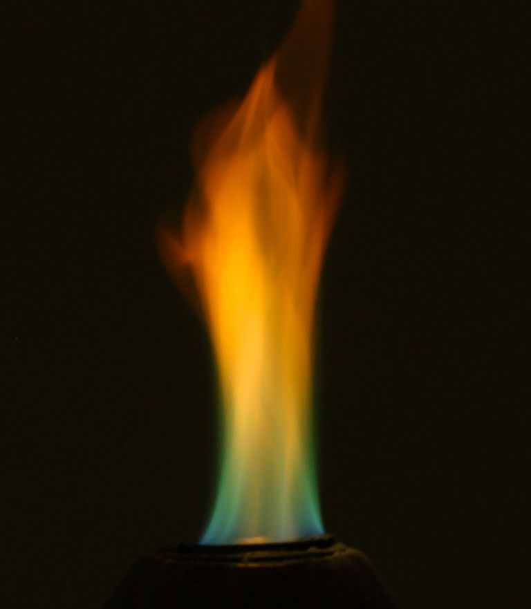 Sprinkling boric acid onto gel fuel produces a rainbow-colored flame.