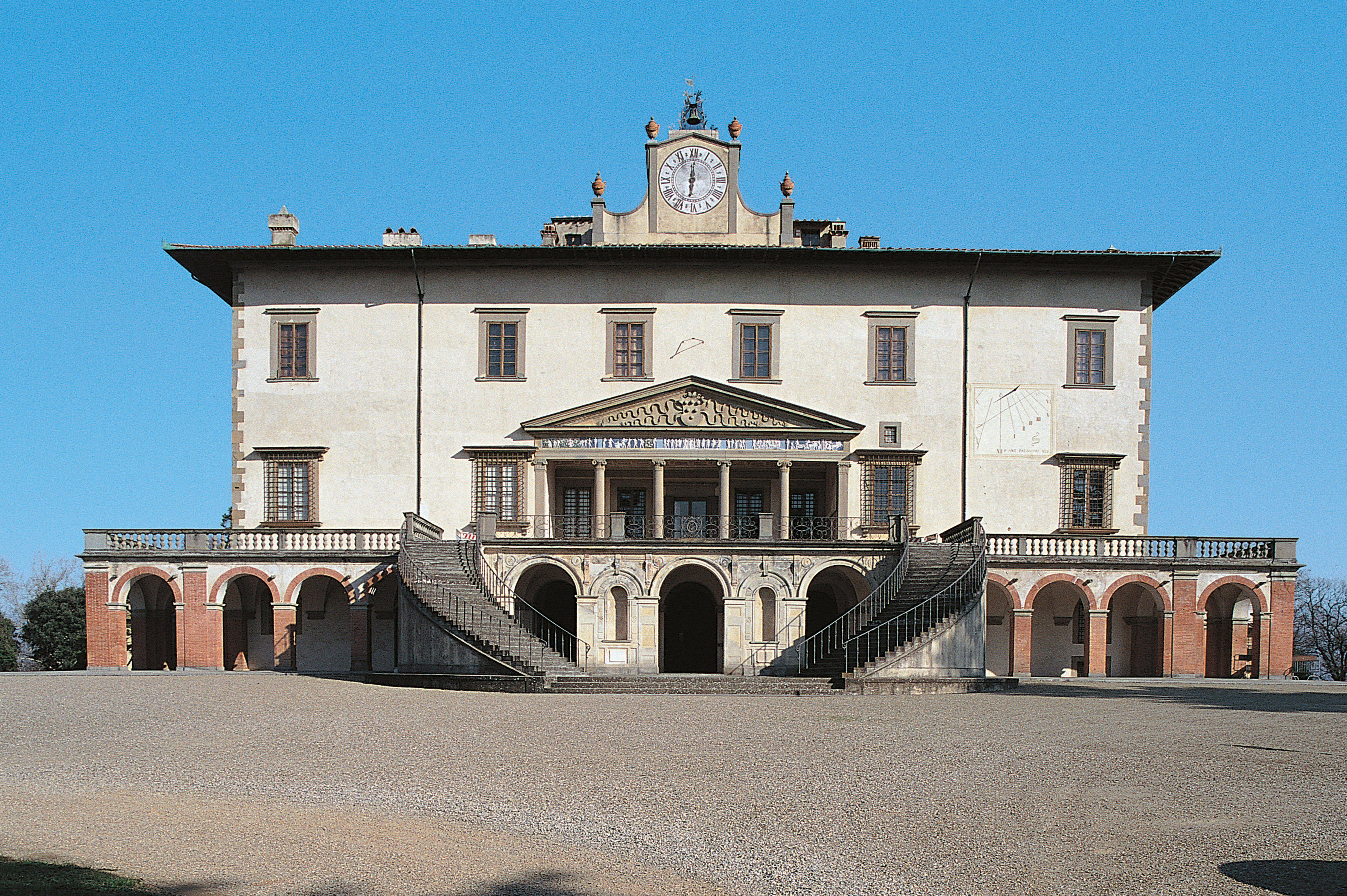 double flight of steps lead into Villa Medici in Poggio a Caiano, Italy