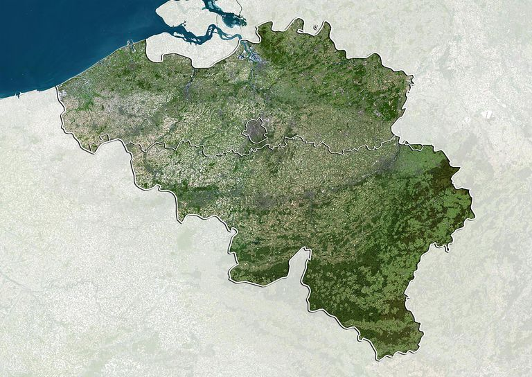 True color satellite image of Belgium