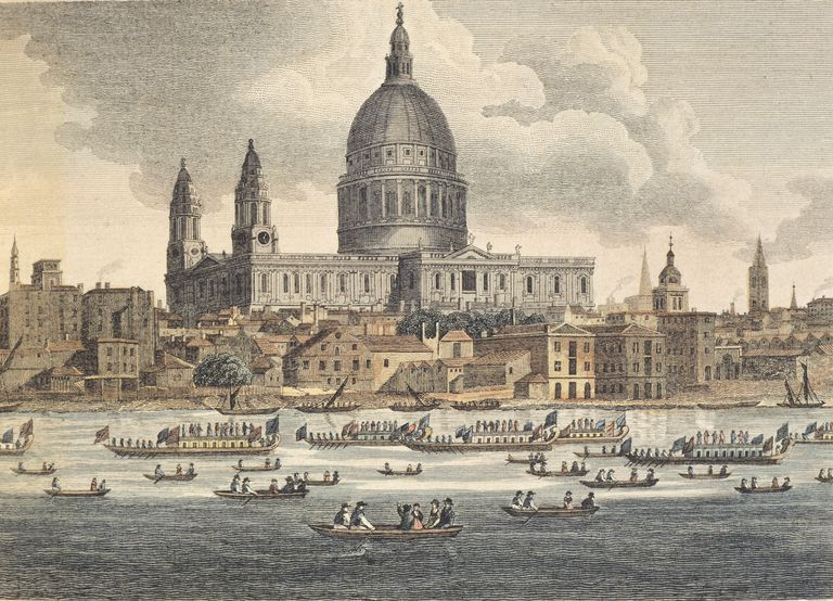 Color sketch of River Thames, London in 1750.