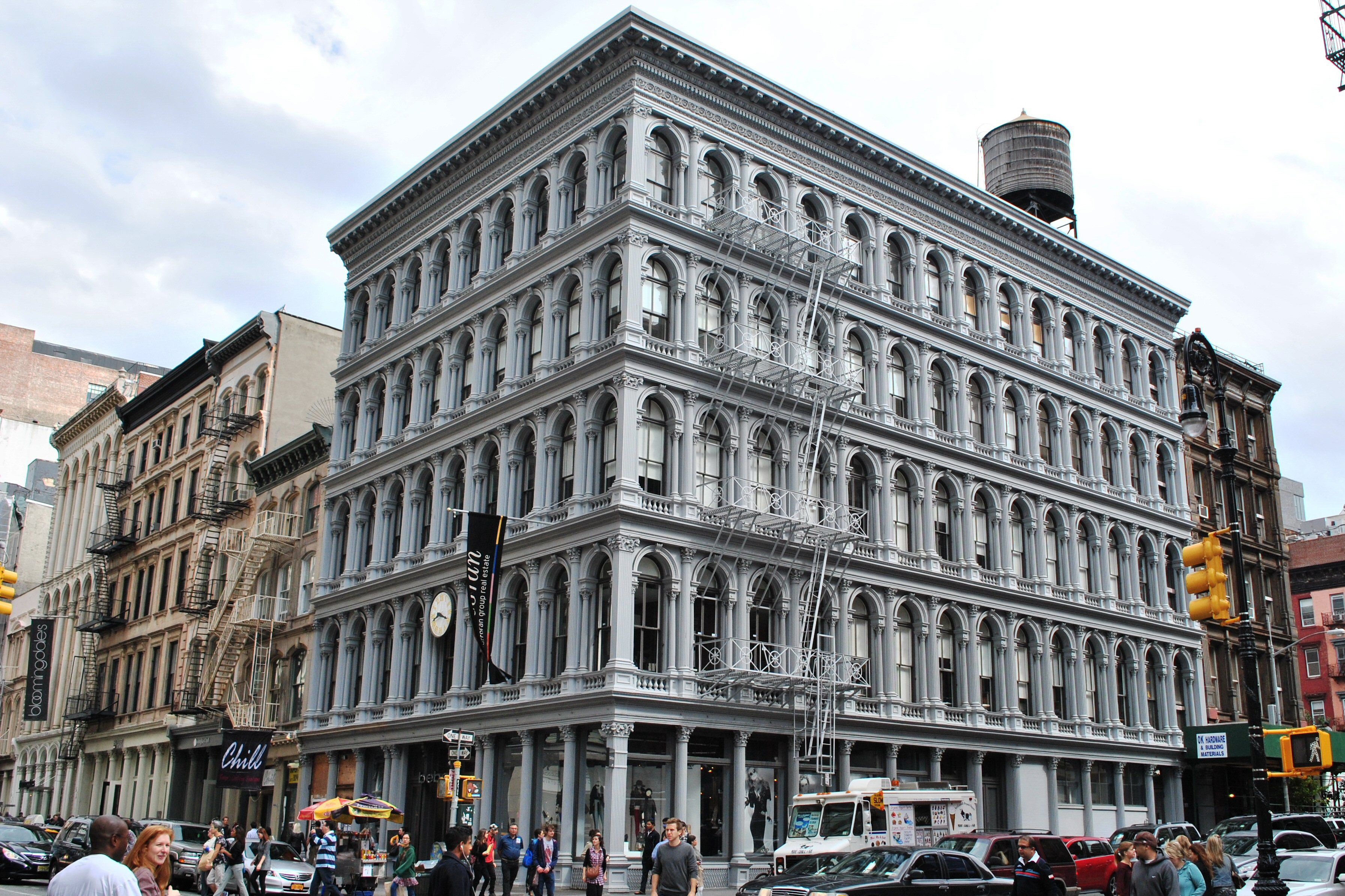 Photo taken in 2011 of two cast-iron facades of Haughwout Store in New York City