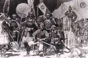 Pencil drawing of Saigo Takamori with officers during the Satsuma Rebellion.