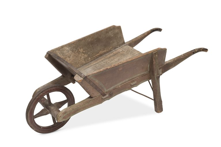 A vintage wooden wheelbarrow