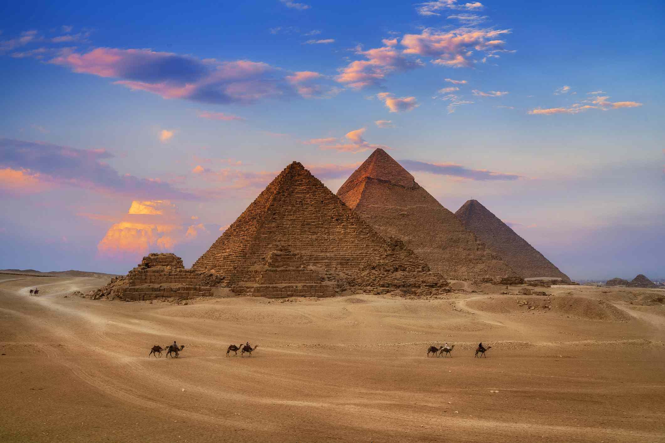 Giza Egypt Pyramids in Sunset Scene, Wonders of the World.