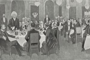 The American writer Mark Twain (1835-1910) being celebrated by the Pilgrims Club at the Savoy Hotel in London, England, photograph by Ernesto Prater