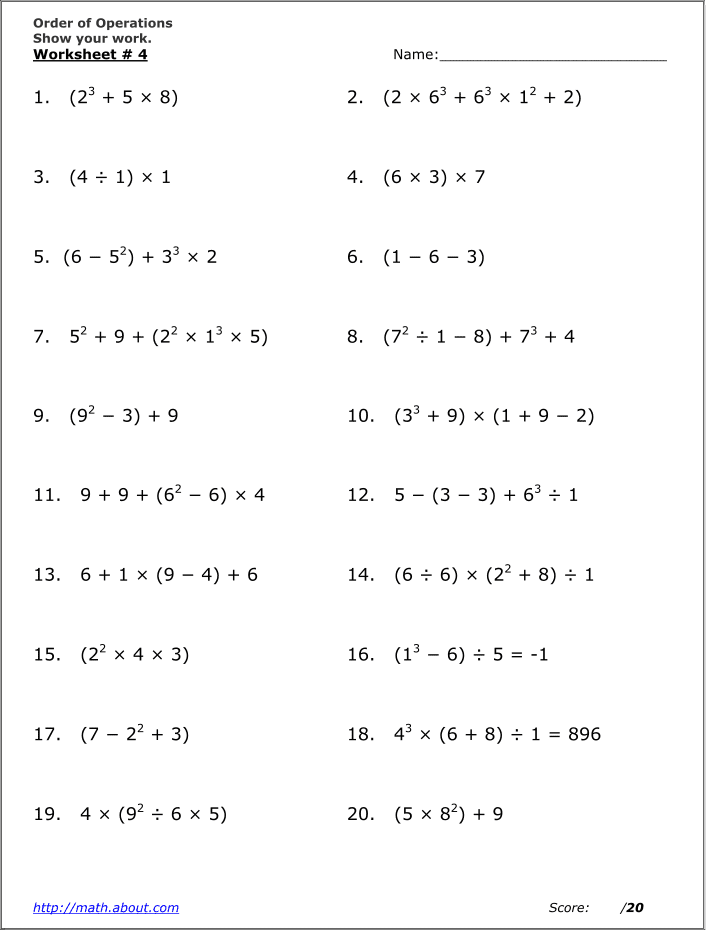 Math Worksheets Order Of Operations Or Pemdas