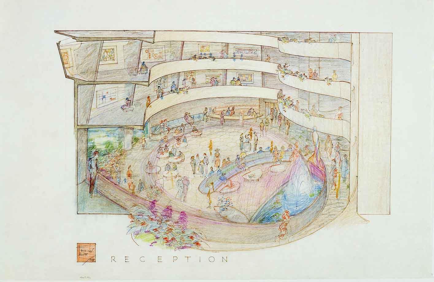 Guggenheim Reception Drawing by Frank Lloyd Wright