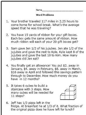 6th Grade Math Word Problems 2312642 on Math Worksheets High School Algebra