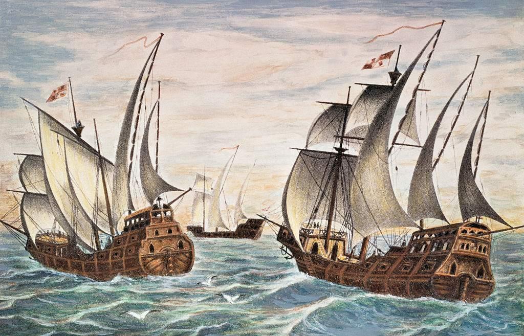 Illustration of the Nina, Pinta and Santa Maria