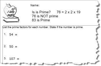 Prime Number Worksheet
