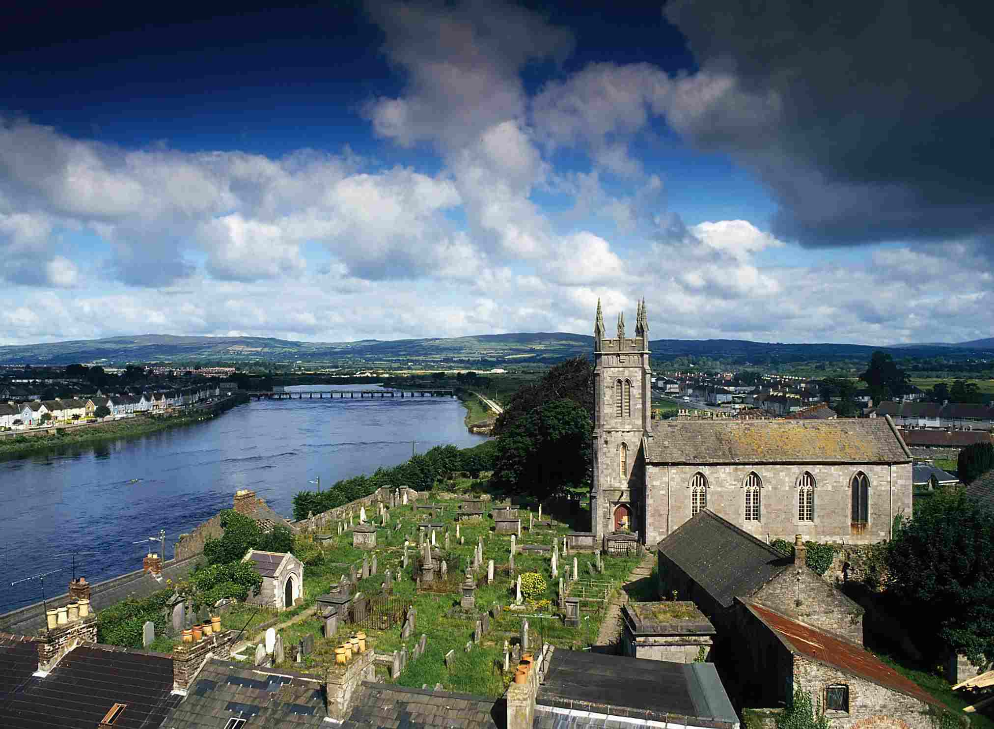 View of Limerick city over St Mary's Cathedral and River Shannon, County Limerick, Ireland.