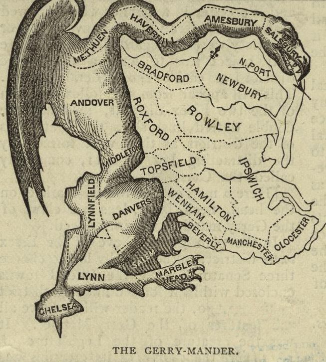 "Early 19th century illustration of ""The Gerry-Mander."""
