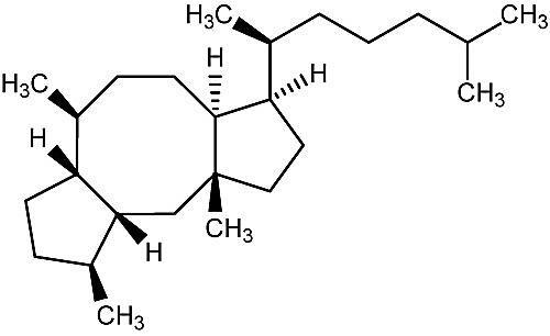Ésta es la estructura química del opiobolano.