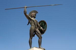 statue of Leonidas against blue sky