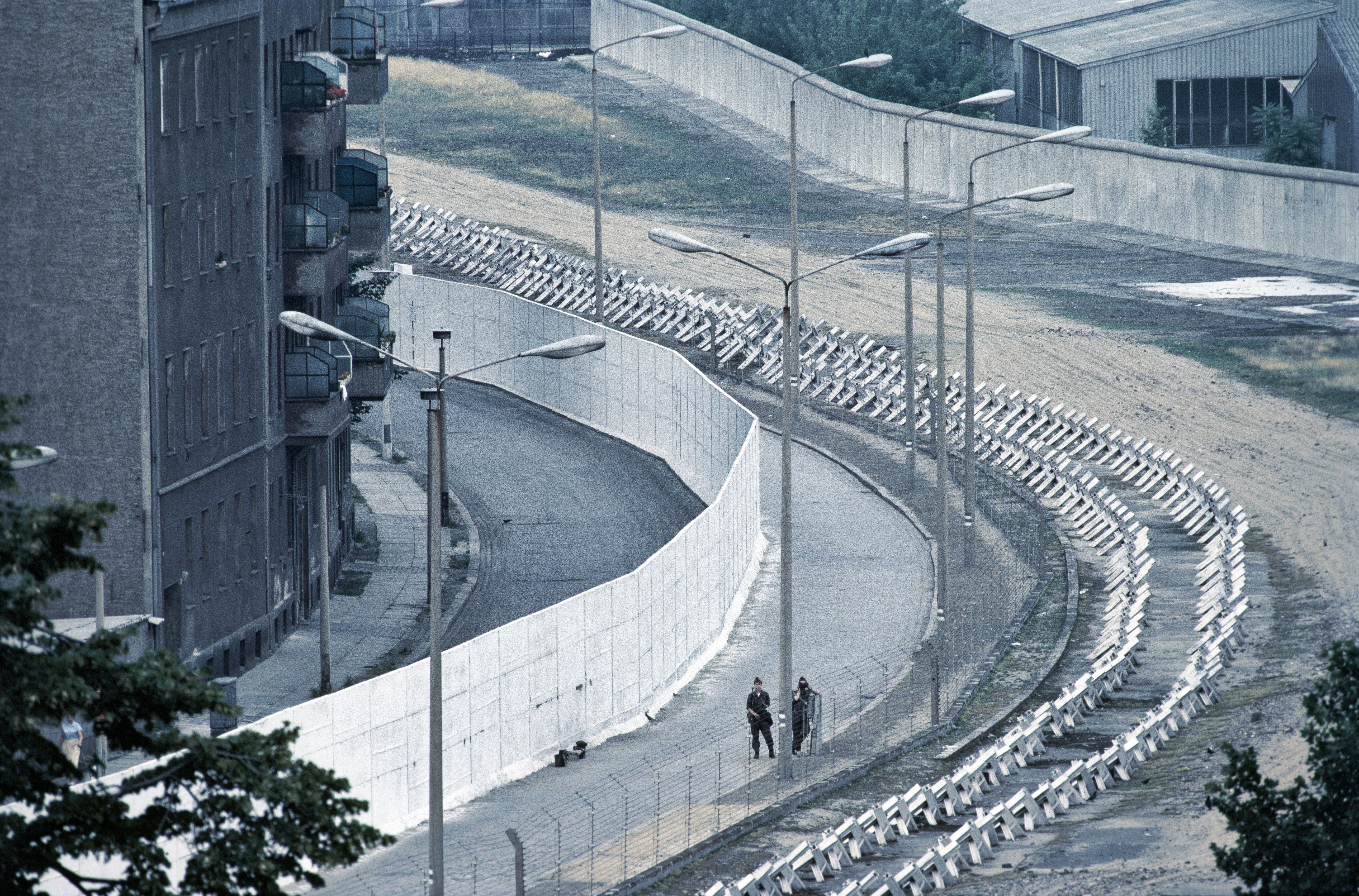 Soldiers patrolling the Berlin Wall Death Strip in 1981.