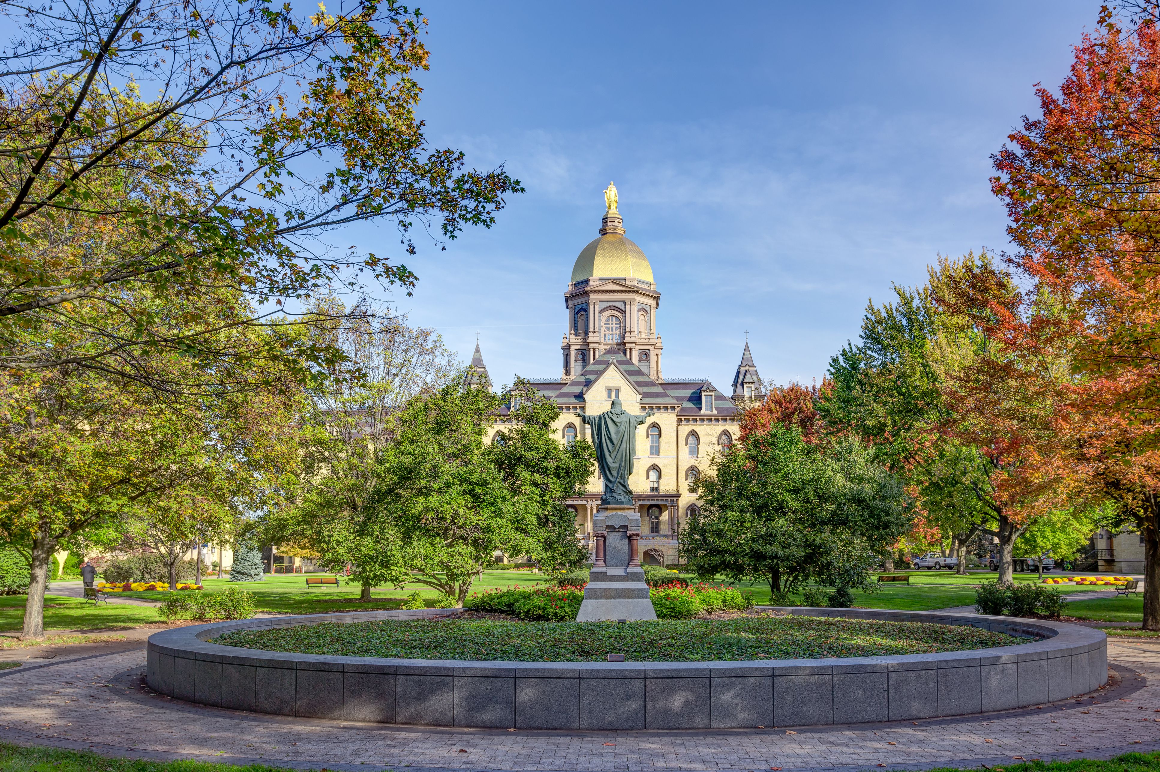 Jesus Statue and Golden Dome at Notre Dame University