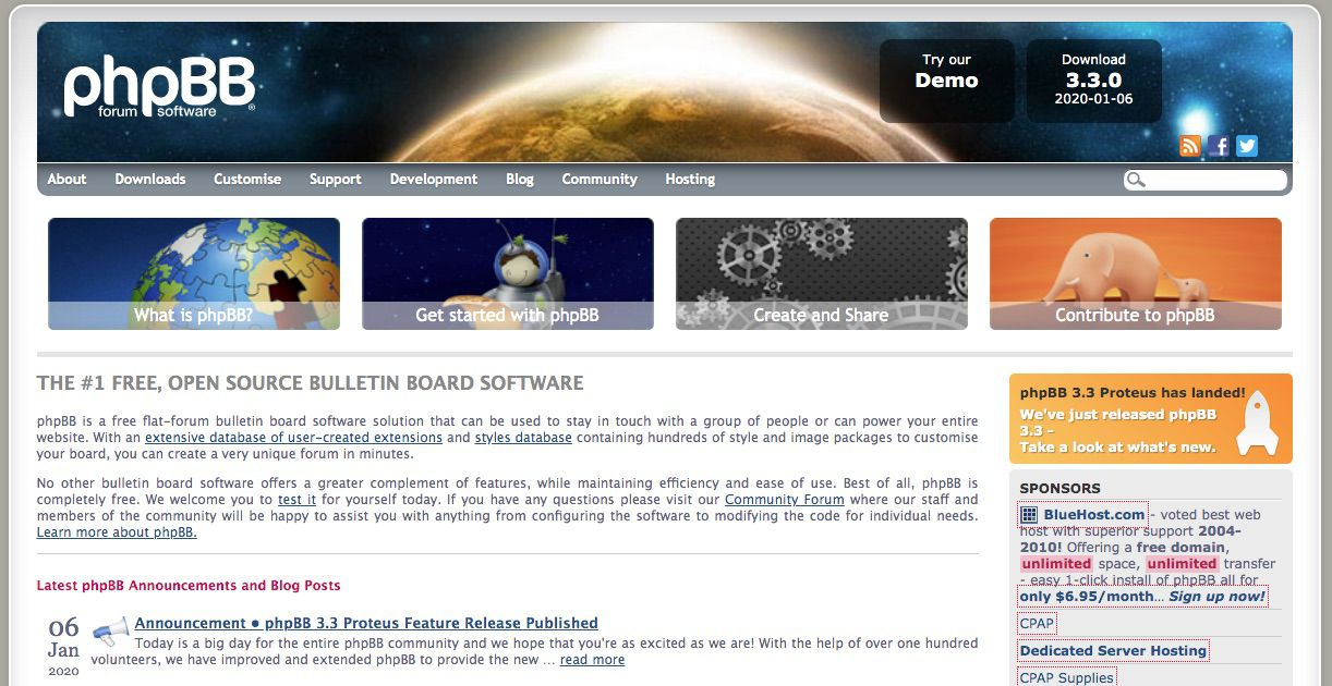 phpBB free forum software for your blog or website
