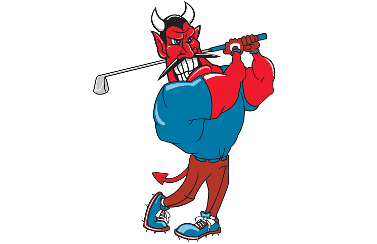 Illustration of a devil playing golf