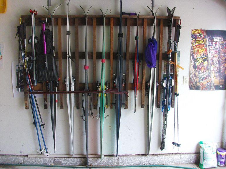 Ski rack in garage