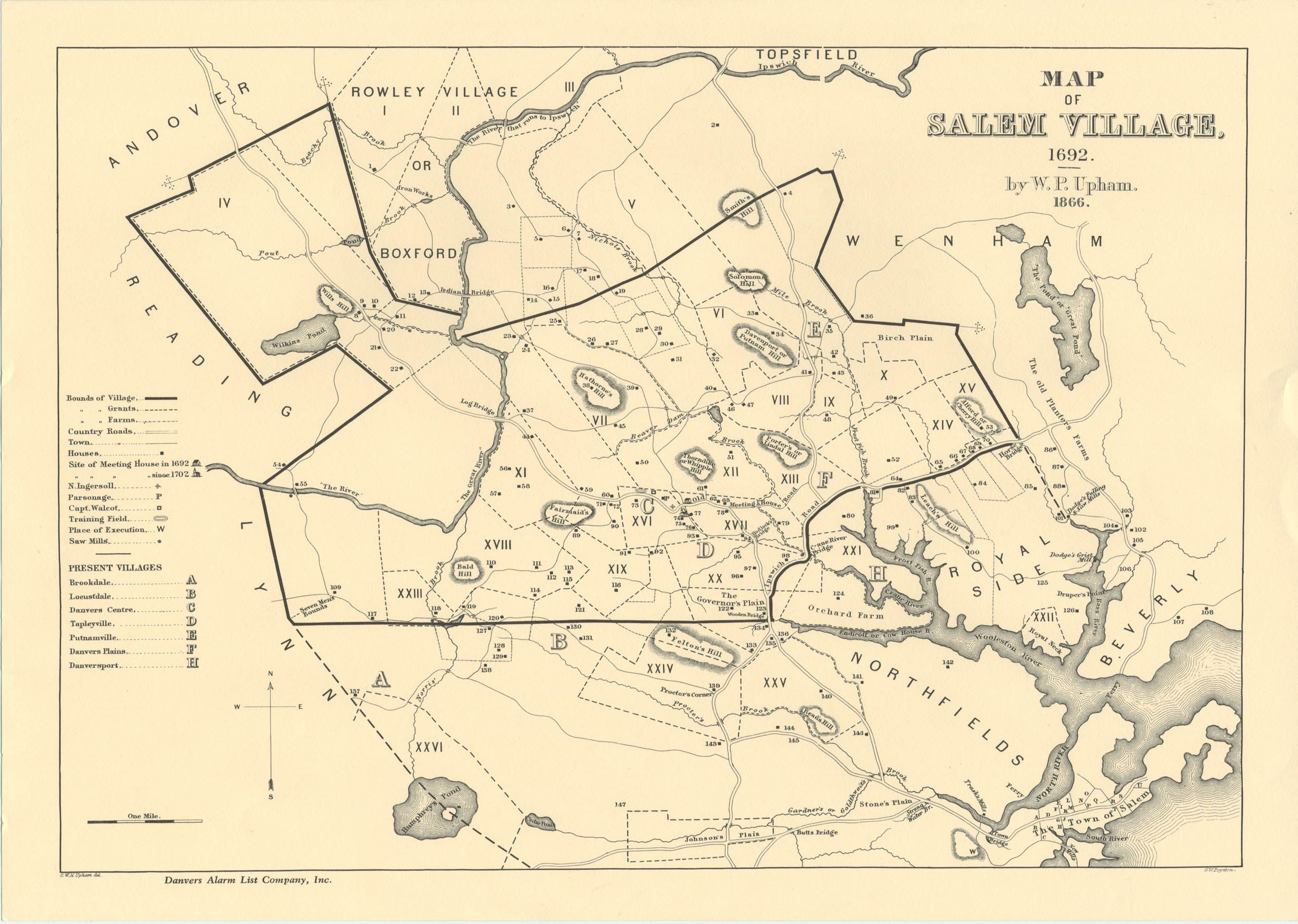 salem witch trials map Salem Village Map Where Victims And Accusers Lived salem witch trials map