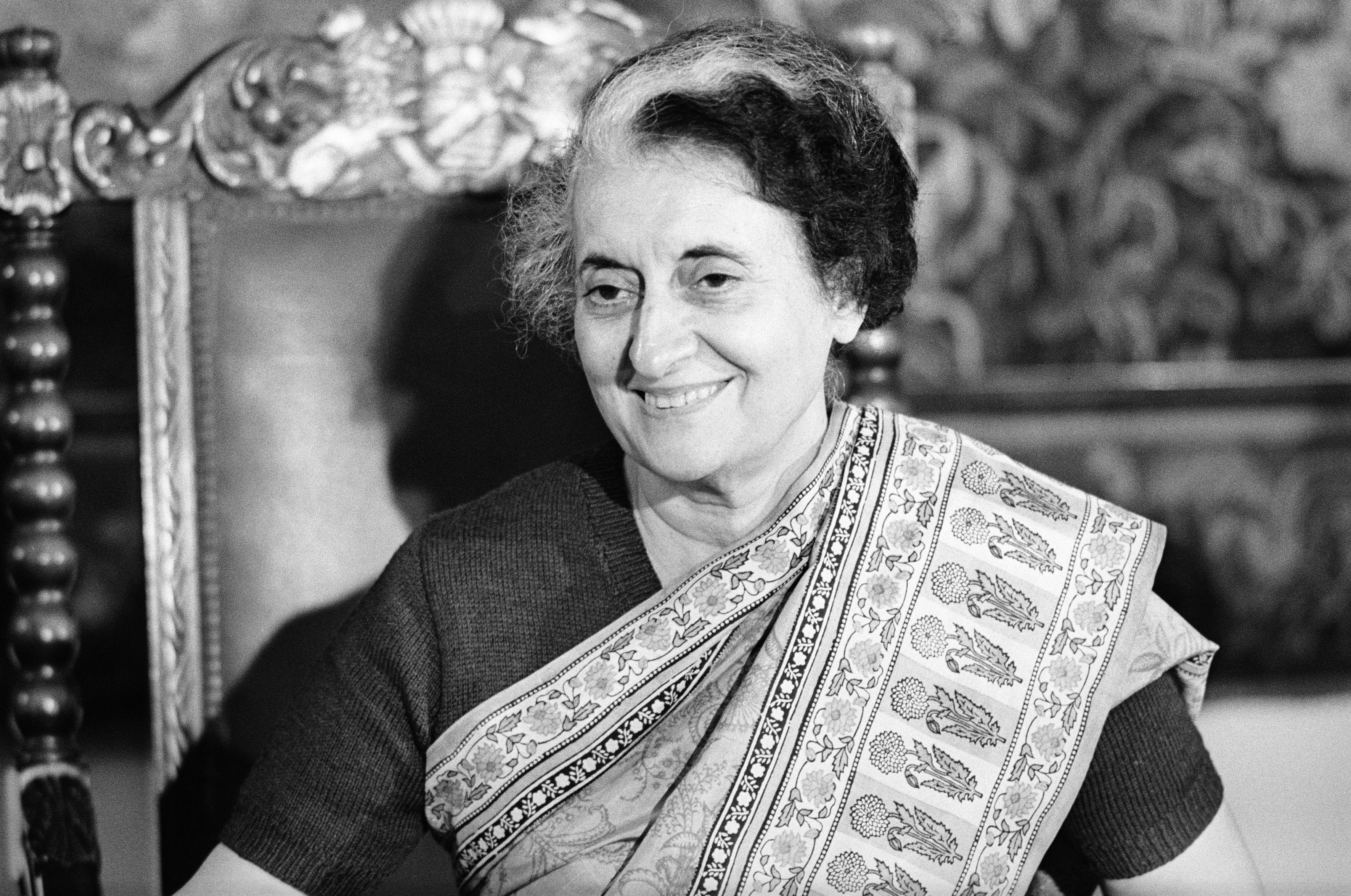 Indira Gandhi, Prime Minister of India, visiting Austria. Hotel Imperial in Vienna. (1983)