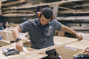 Carpenter Glueing Wood