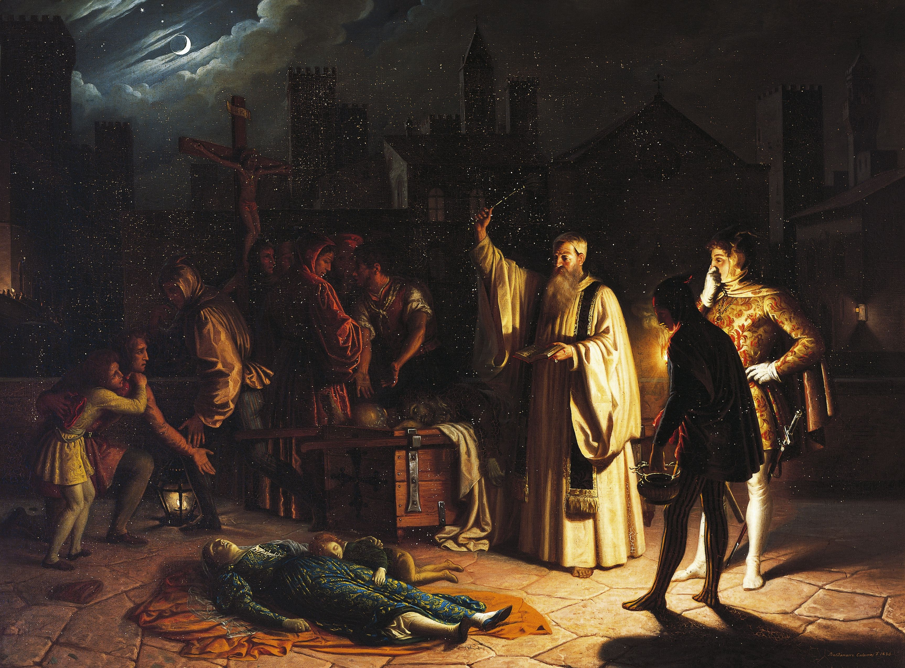 Scene of the plague in Florence in 1348 described by Boccaccio, by Baldassarre Calamai (1787-1851), oil on canvas, 95x126 cm, Italy