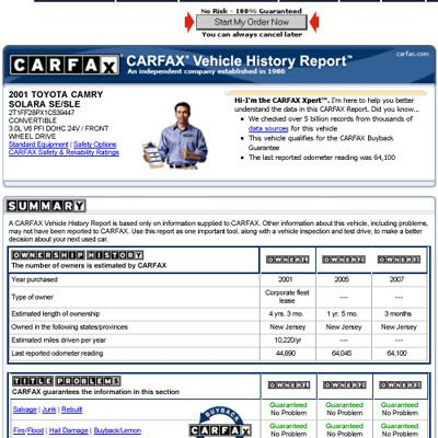 A Carfax Report Is An Important Step In Judging Used Car S Viability And History