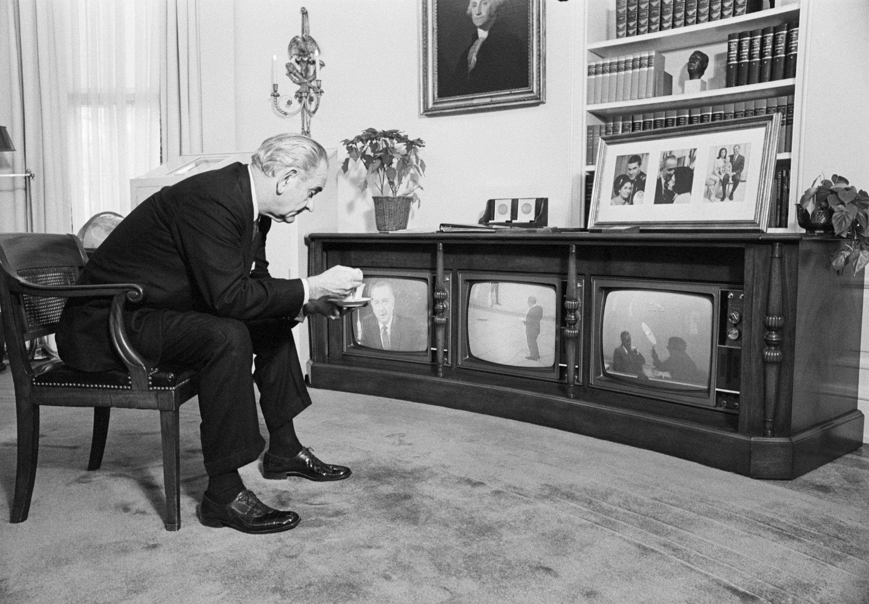 President Lyndon Johnson watching coverage of Apollo 8 splashdown.