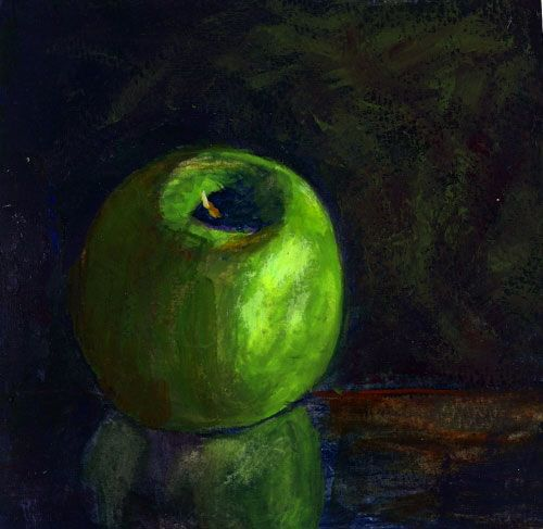 Painting a day ideas -- green apple on reflective surface