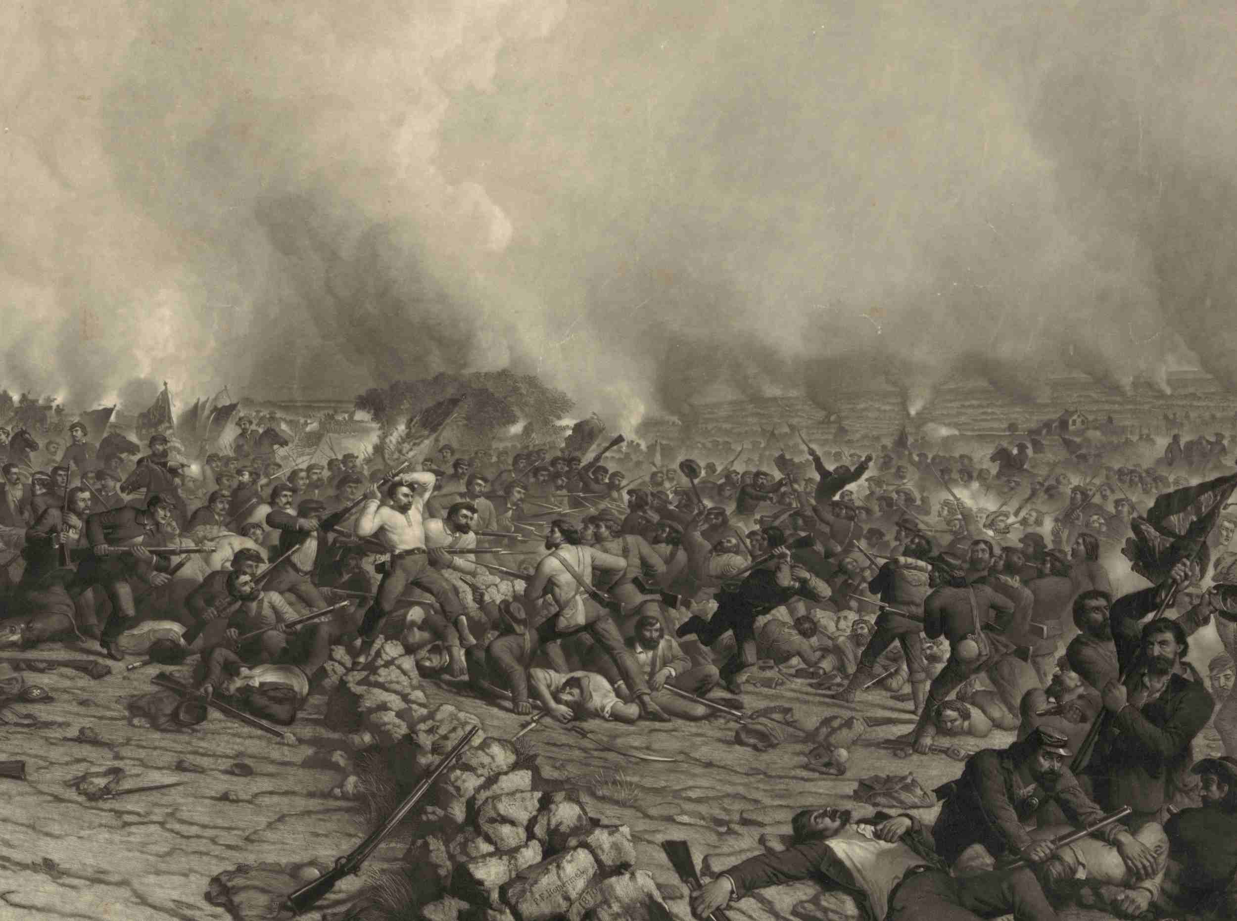 Pickett's Charge at Gettysburg, depiction of fighting at the stone wall