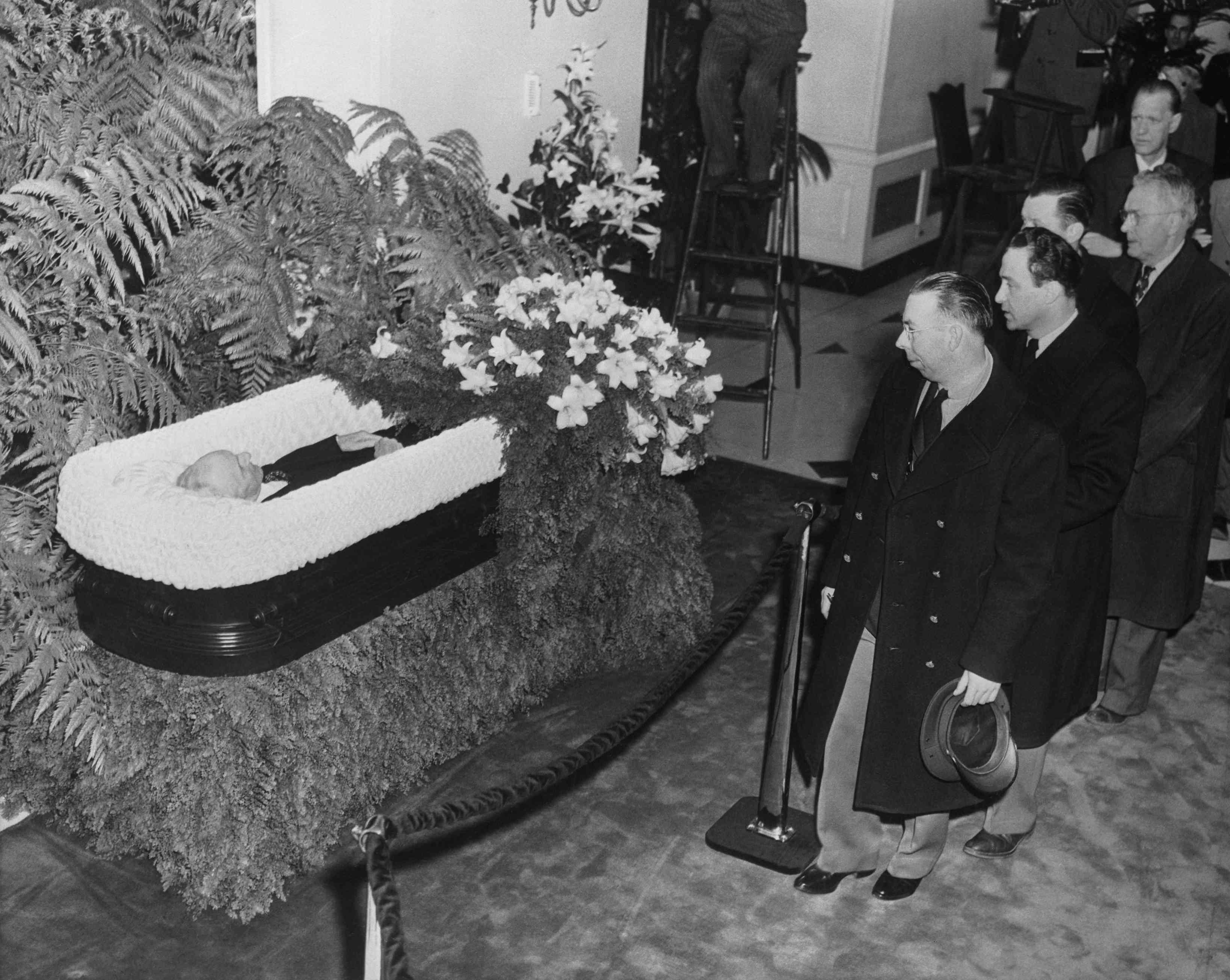 Mourners Filing Past Henry Ford in Casket