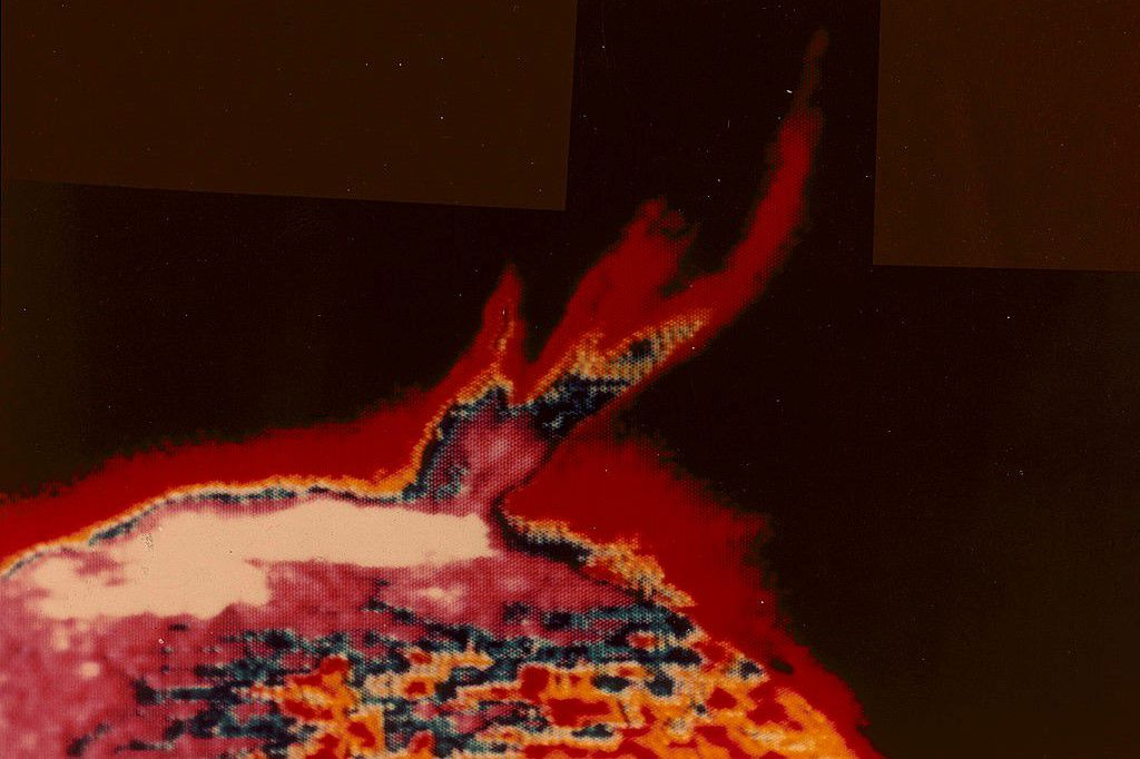 UV color image of a solar flare taken by NASA's Apollo Telescope mounted on Skylab, 1973.