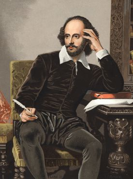 William Shakespeare. Portrait of William Shakespeare 1564-1616. Chromolithography after Hombres y Mujeres celebres 1877, Barcelona Spain