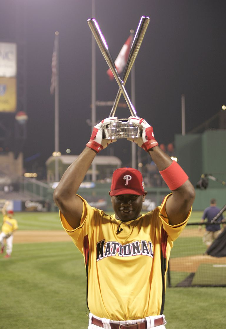 7a71884d7cb Ryan Howard of the Philadelphia Phillies celebrates after winning the  CENTURY 21 Home Run Derby at