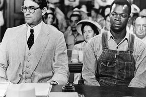 Actors Gregory Peck as Atticus Finch and Brock Peters as Tom Robinson in the film 'To Kill a Mockingbird', 1962