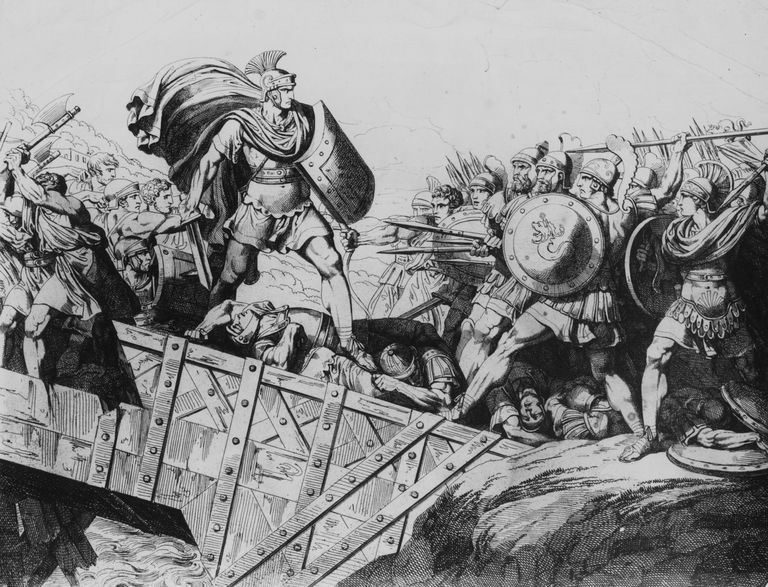 Roman hero Horatius (530 - 500 BC) defending the Tiber Bridge against the army of Lars Porsena