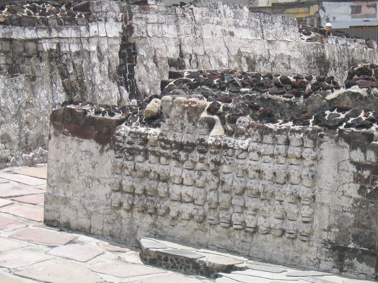 Wall of warrior skulls, Templo Mayor, Mexico City