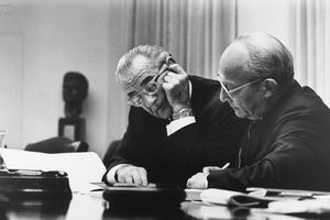 Lbj & Walter Rostow Look At Papers