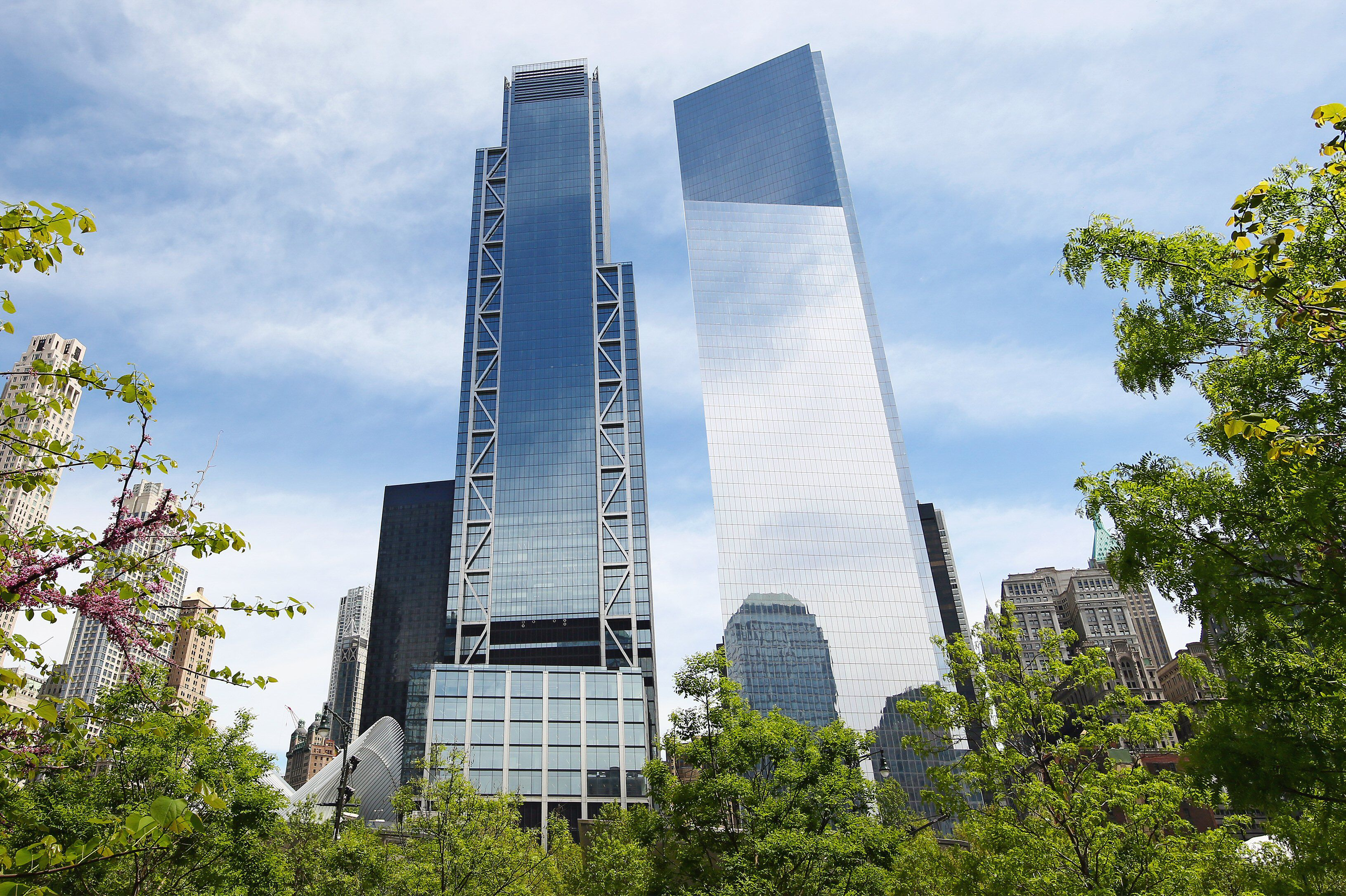 two skyscrapers rising from leafy trees